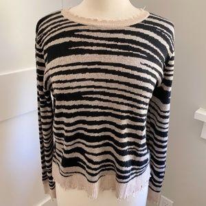 FATE Animal Print Zebra Striped Sweater Small Raw